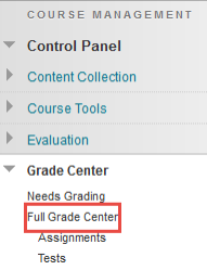 "Grade center drop down menu with red box surrounding ""Full Grade Center"""