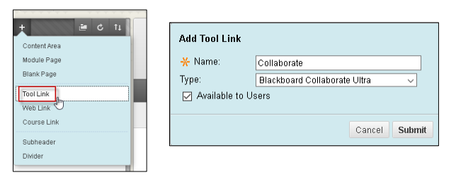"""Left image displaying menu with arrow pointing to """"Tool Link"""". Right image of add tool link box"""