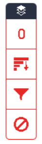 Red tool bar displaying red number, graph, funnel, and circle with line.