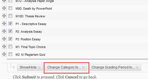 """List of column names with check boxes and a red box surrounding """"Change Category to"""" button"""