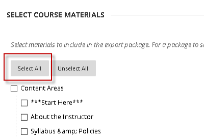 Select Course Materials section with red box surrounding Select All button