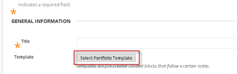 "Red rectangle surrounding ""Select Portfolio Template"" button under general information section"