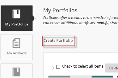 "Red rectangle surrounding ""Create Portfolio"" under the My Portfolios section"